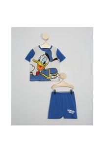 Pijama Infantil Manga Curta Pato Donald Off White
