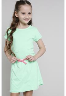 Vestido Infantil Com Laço Neon Manga Curta Verde