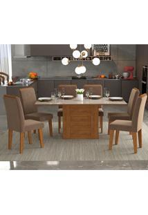 Conjunto De 6 Cadeiras Para Sala De Jantar 180X90 C/ Moldura Rafaela/Tais-Cimol - Savana / Off White / Pluma