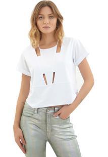 Camiseta Rosa Chá Matilda Malha Branco Feminina (Branco, G)