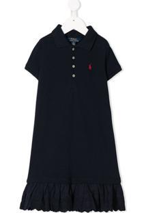 Ralph Lauren Kids Vestido Polo Mangas Curtas Com Peplum - Azul