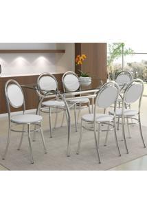 Conjunto De Mesa Com 6 Cadeiras Antônia Napa Branco