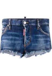 Dsquared2 Short Jeans Com Bainha Desfiada - Azul