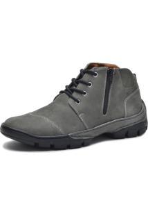 Bota Cano Curto Over Boots Couro Cinza - Cinza - Masculino - Dafiti