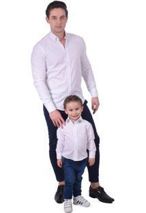 Camisa Social Branca Infanti Slim - Kanui