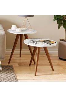 Mesa De Canto 400 Retrô – Be Mobiliário - Branco / Carrara