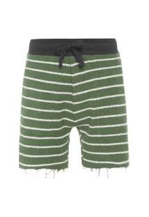 Bermuda Masculina Double Rustic Stripes - Verde