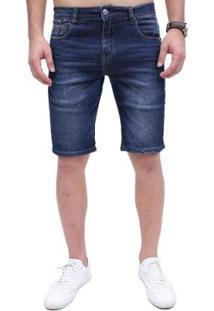 Bermuda Rock&Soda Jeans Masculina Lisa Zíper Bolso Casual - Masculino-Azul Escuro