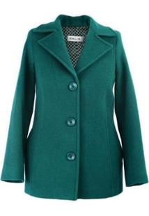 Casaco Salis Lã 3/4 Feminino - Feminino-Verde Escuro