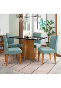 Conjunto De Mesa De Jantar Com Tampo De Vidro E 4 Cadeiras Ana Animalle Nero E Azul