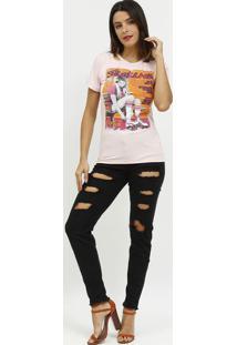 """Camiseta """"Skating"""" Com Vazados- Rosa Claro & Pink- Ccoca-Cola"""
