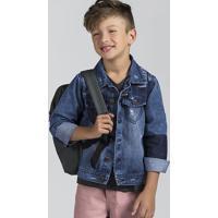908f175c81 Jaqueta Jeans Infantil Menino Com Lavação Moderna E Efeito Destroyed Puc
