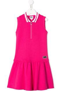 Karl Lagerfeld Kids Vestido Polo Evasê - Rosa
