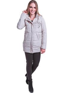 Jaqueta Sobretudo Acolchoado Frio Inverno Carbella Cinza Claro Branco