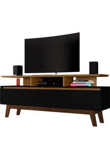 Rack Rubi Tv De Até 65 Polegadas Cinamomo/Preto Fosco Móveis Bechara