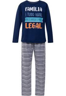Pijama Juvenil Longo Menino Familia Legal Luna Cuore