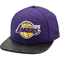 cb36ecbe0a22d Boné New Era Snapback Original Fit Los Angeles Lakers Leather Rip - Nba -  Masculino