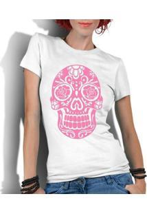 Camiseta Criativa Urbana Caveira Mexicana Rosa - Feminino-Branco
