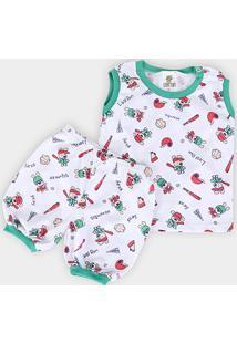 Pijama Infantil Candy Kids Estampado Bebê Masculino - Masculino-Branco