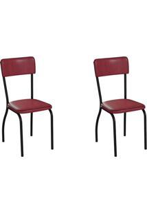 Conjunto Com 2 Cadeiras Nowra Vinho E Preto