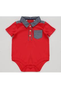 Body Polo Infantil Com Bolso Manga Curta Vermelho