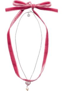 Miu Miu Colar Com Pingente De Coração - Rosa