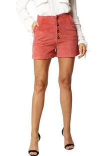Shorts Studio21 Cintura Alta Veludo Rose