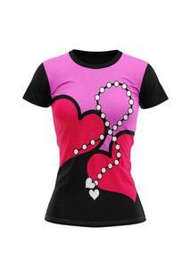 Camiseta Feminina Lucinoze Camisetas Manga Curta Amor Preta