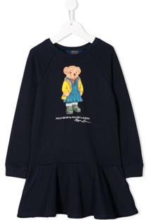 Ralph Lauren Kids Vestido Com Logo Polo Bear - Azul