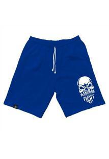Bermuda Maromba Fight Wear Moletom Skull Com Bolsos Masculina - Masculino-Azul
