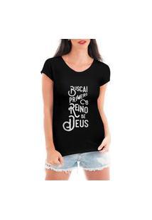 Camiseta Criativa Urbana Reino Gospel Religiosa Preta