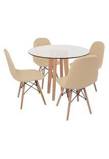 Conjunto Mesa De Jantar Em Vidro 90Cm Com Base Vértice + 4 Cadeiras Botonê - Nude
