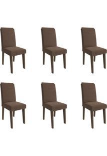 Conjunto Com 6 Cadeiras De Jantar Taís I Suede Marrocos E Chocolate