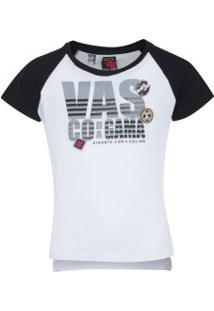 Camiseta Do Vasco Da Gama School Feminina - Infantil - Branco/Preto