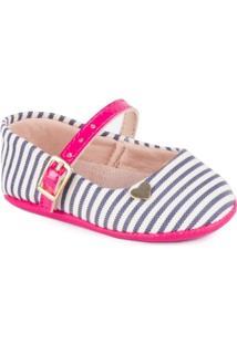 Sapato Molekinha Fechado Com Alça Listrado Multi Marinho/Pink - Feminino