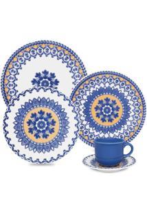 Aparelho Jantar/Chá Oxford 20Pcs Mail Order Floreal La Carreta Branco/Azul