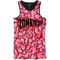 Camiseta Bsc Regata Cerebro Zombie Louco Sublimada Masculina - Masculino -Preto+Rosa 0ca30a67afa