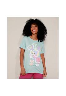"""Camiseta Feminina Tom E Jerry Just Chillin'"""" Manga Curta Decote Redondo Azul Claro"""""""