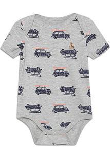 Body Bebê Gap Malha Estampado Masculino - Masculino-Cinza Claro