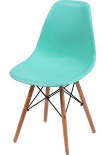 Cadeira Eames Polipropileno Verde Tifanny Base Madeira - 35819 - Sun House