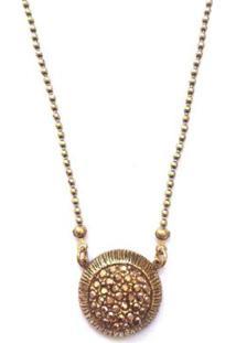 Colar Armazem Rr Bijoux Cristal Swarovski Cravejado Ouro Velho - Feminino-Dourado