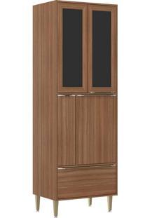 Paneleiros 4 Portas 1 Gaveta Com Vidro E Pés 5406 Nogueira - Multimóveis