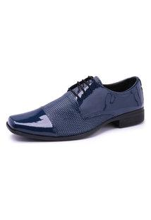 Sapato Social Cadarço Verniz 701 Azul