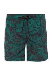Bermuda Masculina Long Trunk Palm Lines - Verde