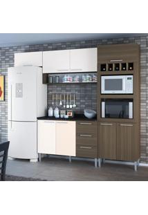 Cozinha Compacta 8 Portas 3 Gavetas Yasmin 0421T Castanho/Branco - Genialflex