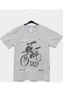 Camiseta Infantil Pulla Bulla Moto Cross Masculina - Masculino-Cinza