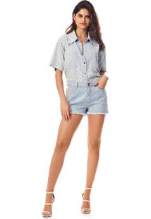 Shorts Morena Rosa Five Pockets Com Termocolante Jeans