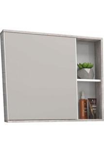 Espelheira Para Banheiro 60Cm Mdf Caeté Branco E Calcare 60X52,4X13,2Cm - Cozimax - Cozimax