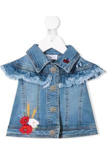 Monnalisa Jaqueta Jeans Com Detalhe Bordado - Azul