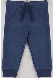 Calça Infantil Em Moletom Texturizada Com Bolso Azul Marinho